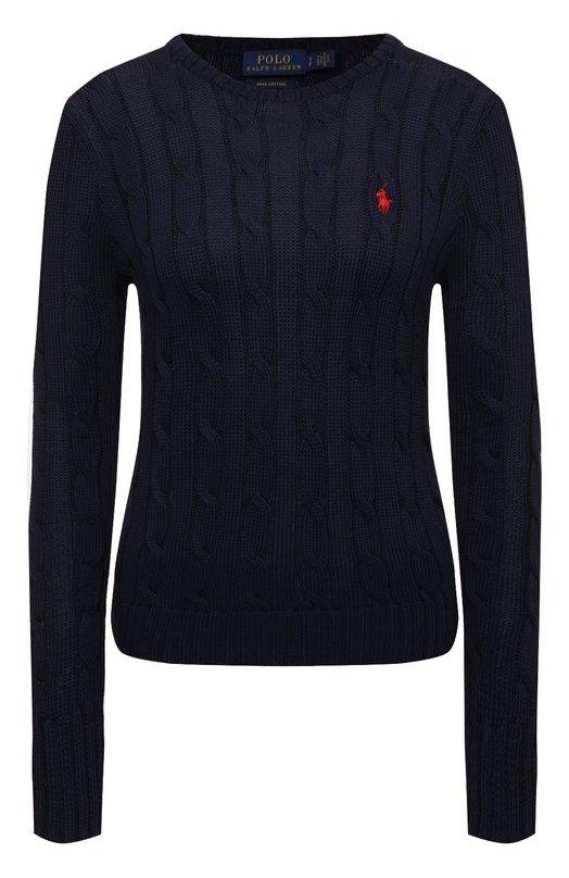 Купить Пуловер фактурной вязки с логотипом бренда Polo Ralph Lauren, 211580009, Китай, Синий, Хлопок: 100%;