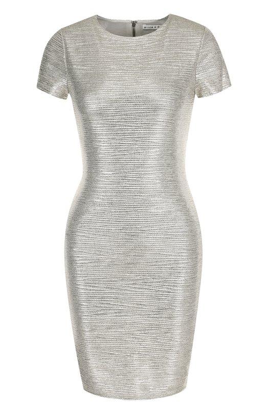 Купить Приталенное мини-платье с круглым вырезом Alice + Olivia, CC806T01538, Китай, Серебряный, Полиэстер: 94%; Эластан: 6%;