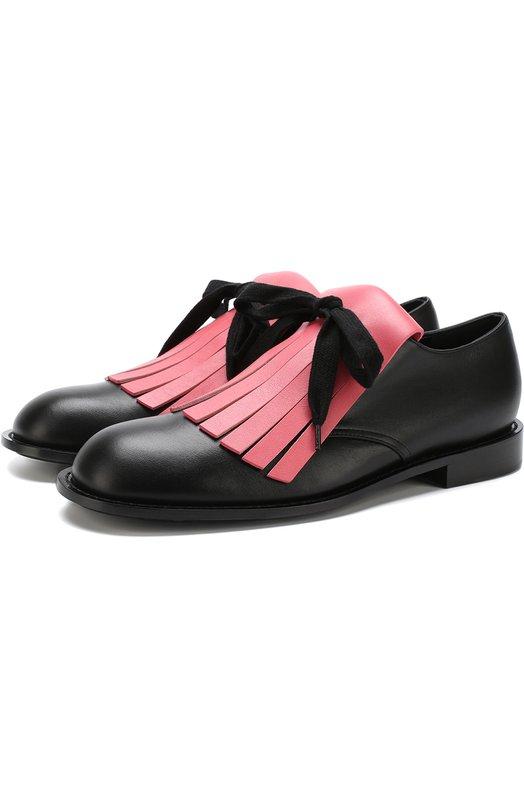 Купить Кожаные ботинки с бахромой Marni, ALMS000302/LV785, Италия, Черный, Подошва-кожа: 80%; Подошва-резина: 20%; Подкладка-кожа: 100%; Кожа: 100%;