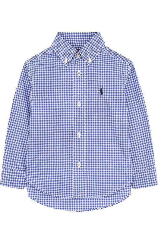 Купить 321692166, Хлопковая рубашка с воротником button down Ralph Lauren, Индонезия, Синий, Хлопок: 100%;, Мужской, Рубашки