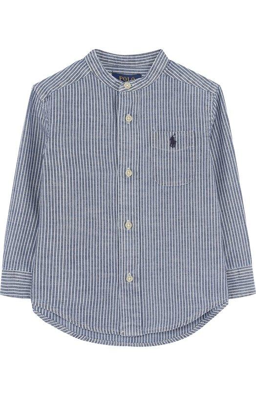 Купить Хлопковая рубашка с воротником-стойкой Polo Ralph Lauren, 321692215, Индия, Голубой, Хлопок: 100%;