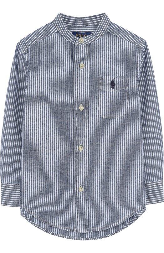 Купить Хлопковая рубашка с воротником-стойкой Polo Ralph Lauren, 323692215, Индия, Голубой, Хлопок: 100%;