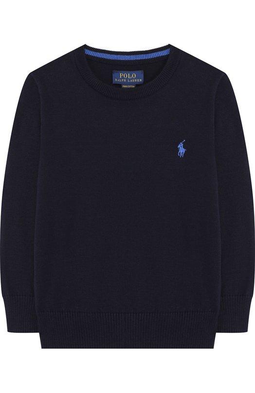 Купить Хлопковый пуловер с логотипом бренда Polo Ralph Lauren, 321690740, Китай, Синий, Хлопок: 100%;