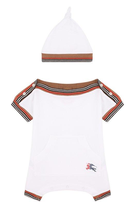 Купить Хлопковый комплект из комбинезона и шапки Burberry, 8002667, Таиланд, Белый, Хлопок: 98%; Эластан: 2%;