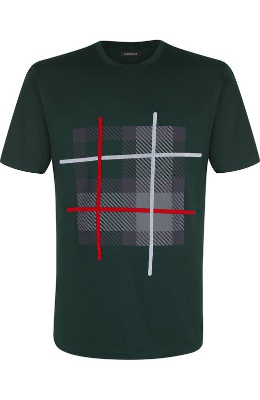 Купить Хлопковая футболка с принтом Z Zegna, VR372/ZZ630I, Турция, Темно-зеленый, Хлопок: 100%;
