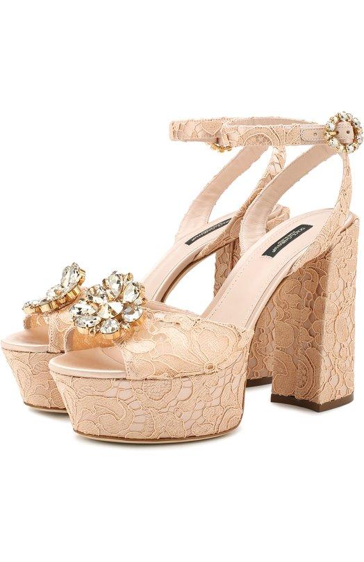 Босоножки Keira на устойчивом каблуке и платформе Dolce & Gabbana, CR0682/AL198, Италия, Светло-бежевый, Полиамид: 8%; Вискоза: 59%; Подкладка-кожа: 57%; Подкладка-вискоза: 29%; Хлопок: 17%; Шелк: 16%; Подкладка-шелк: 14%; Подошва-кожа: 100%;  - купить
