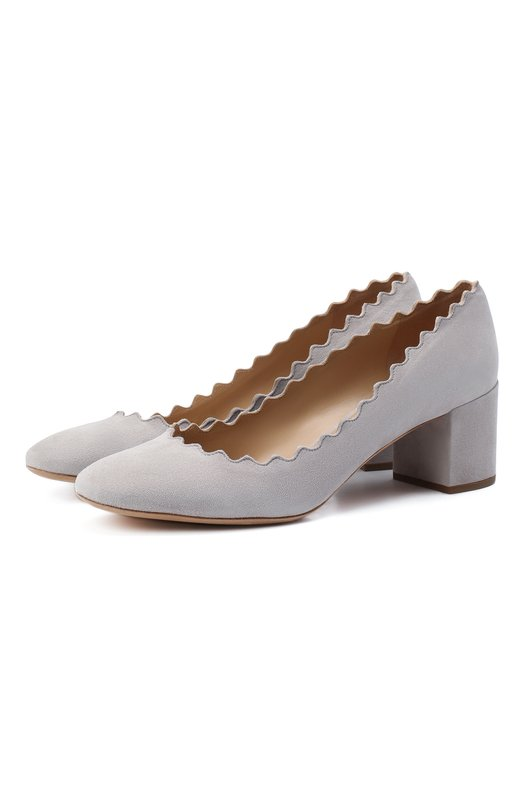 Замшевые туфли Lauren с фигурным вырезом Chloé, CHC16S23001, Италия, Светло-серый, Стелька-кожа: 100%; Подошва-кожа: 100%; Замша натуральная: 100%; Подкладка-кожа: 100%; Кожа: 100%;  - купить