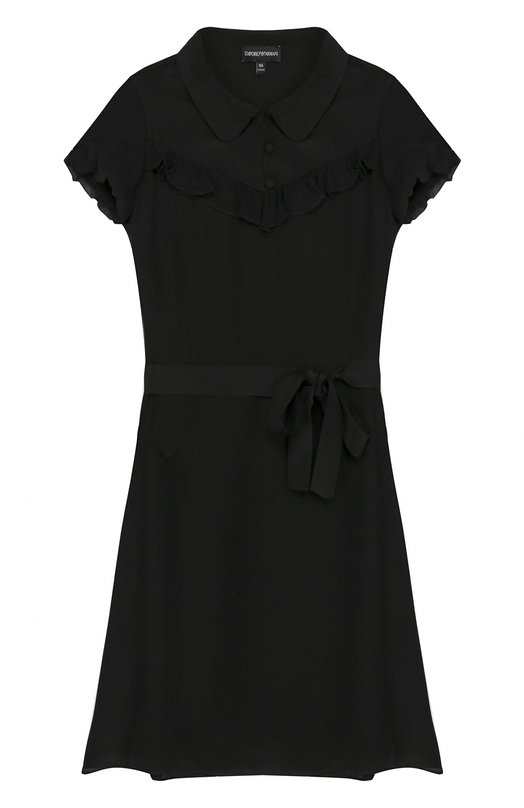 Купить Шелковое платье с оборками и поясом Emporio Armani, 6Z3A74/2NQXZ, Китай, Черный, Шелк: 100%;