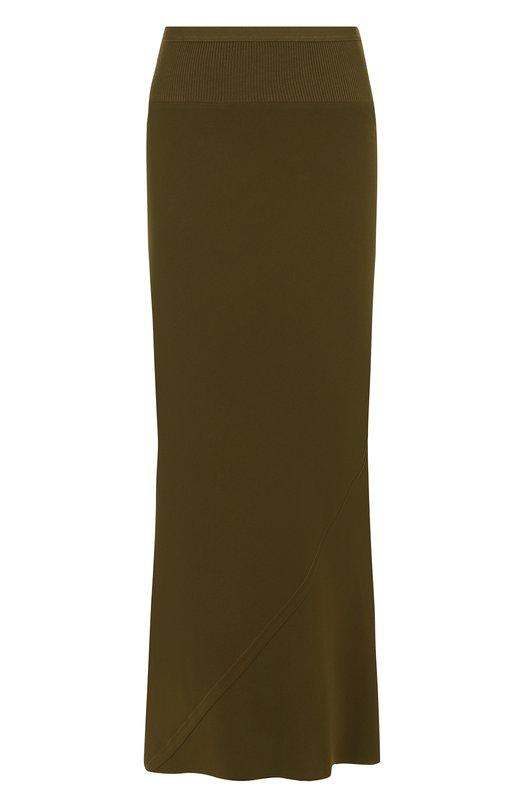 Однотонная юбка-миди с эластичным поясом Rick Owens, RP18F4334/HY, Италия, Темно-зеленый, Вискоза: 50%; Ацетат: 50%;  - купить