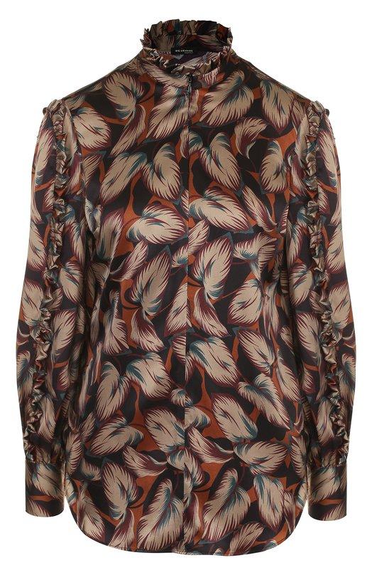 Купить Шелковая блуза с принтом и воротником-стойкой Kiton, D46405K05R26, Италия, Коричневый, Шелк: 100%;