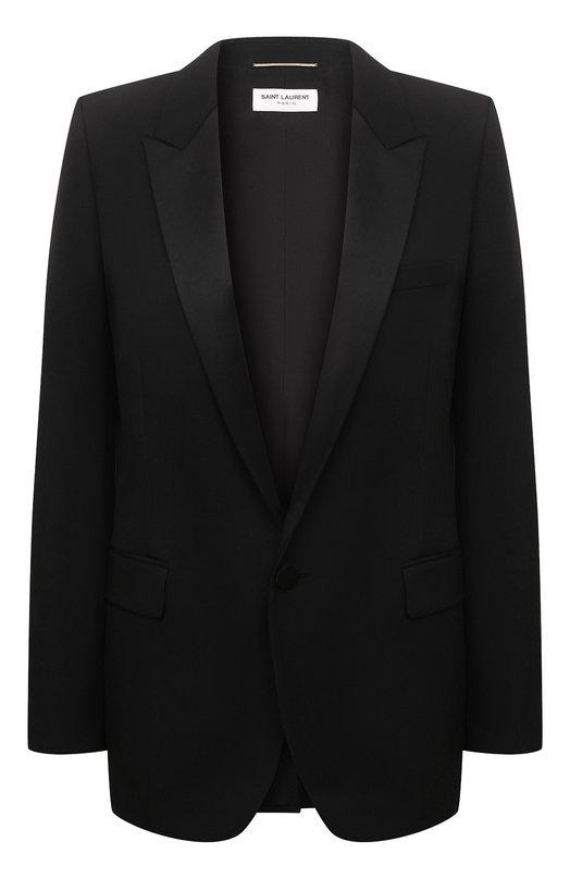Купить Шерстяной жакет на одной пуговице Saint Laurent, 517741/Y399W, Италия, Черный, Шерсть: 100%;