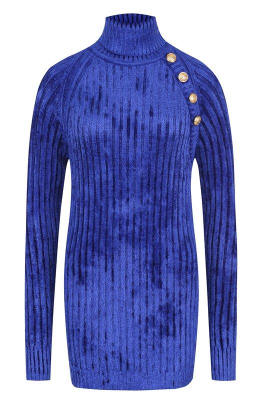Купить Удлиненный пуловер с воротником-стойкой Balmain, 146576/K037, Италия, Синий, Вискоза: 63%; Полиамид: 37%;