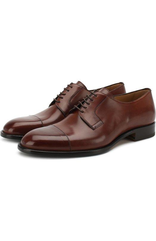 Купить Кожаные дерби на шнуровке Brioni, QEEQ0L/P6757, Италия, Светло-коричневый, Подошва-Резина: 49%; Кожа: 100%; Низ-Кожа: 100%; Подкладка-Кожа: 100%; Подошва-Кожа: 100%;