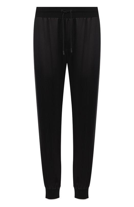Купить Шелковые брюки прямого кроя с манжетами Dolce & Gabbana, GYR1AT/FU1AU, Италия, Черный, Шелк: 100%;