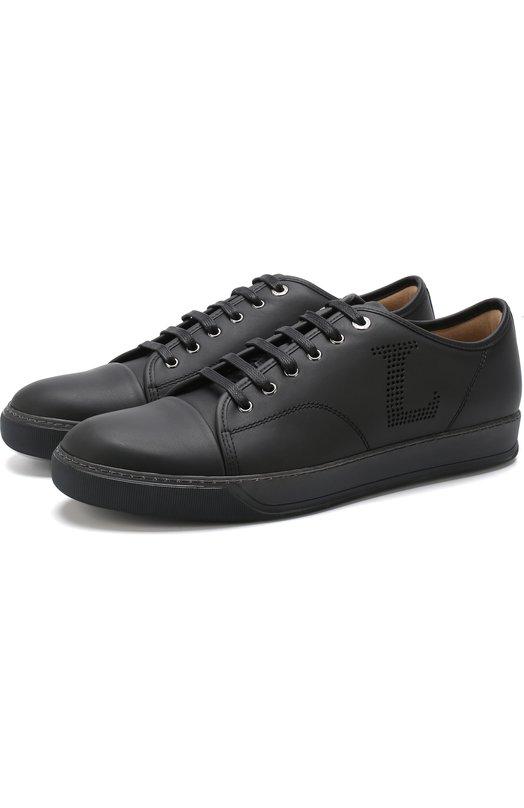 Купить Кожаные кеды на шнуровке Lanvin, FM-SKDBNL-VNAP-A18, Португалия, Черный, Подошва-резина: 100%; Подкладка-кожа: 100%; Кожа: 100%;
