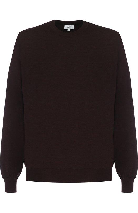 Купить Джемпер из шерсти тонкой вязки Brioni, UMQ90L/0ZK18, Италия, Темно-коричневый, Шерсть: 100%;