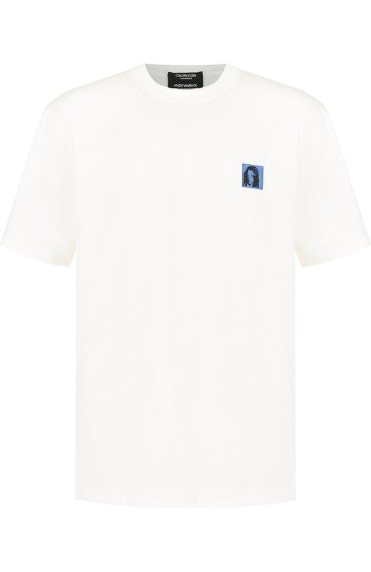 Купить Хлопковая футболка с нашивкой CALVIN KLEIN 205W39NYC, 83MWTC50/C133, Италия, Белый, Хлопок: 100%;