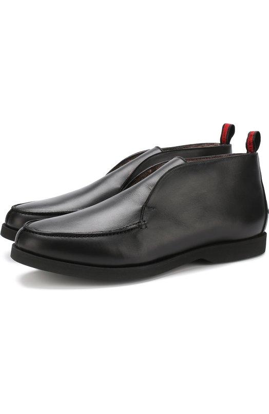 Купить Кожаные ботинки без шнуровке с внутренней меховой отделкой Kiton, USSFLYN00409, Италия, Черный, Подошва-резина: 100%; Подкладка-кожа: 100%; Подкладка-мех натуральный: 100%; Кожа: 100%;