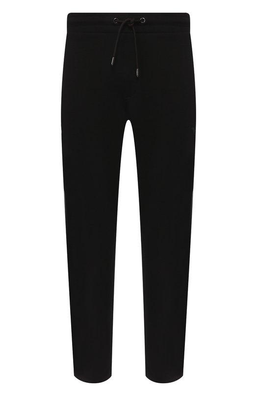 Купить Хлопковые брюки прямого кроя с поясом на резинке Emporio Armani, 8N1P87/1J07Z, Маврикий, Черный, Хлопок: 72%; Полиэстер: 28%;
