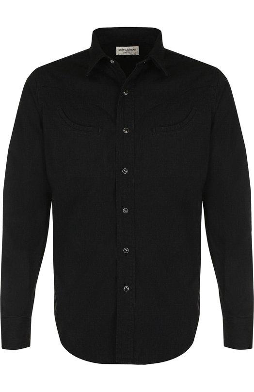 Купить Хлопковая рубашка на кнопках Saint Laurent, 527507/Y0881, Япония, Черный, Хлопок: 100%;