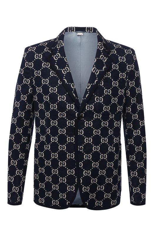 Однобортный хлопковый пиджак с принтом Gucci