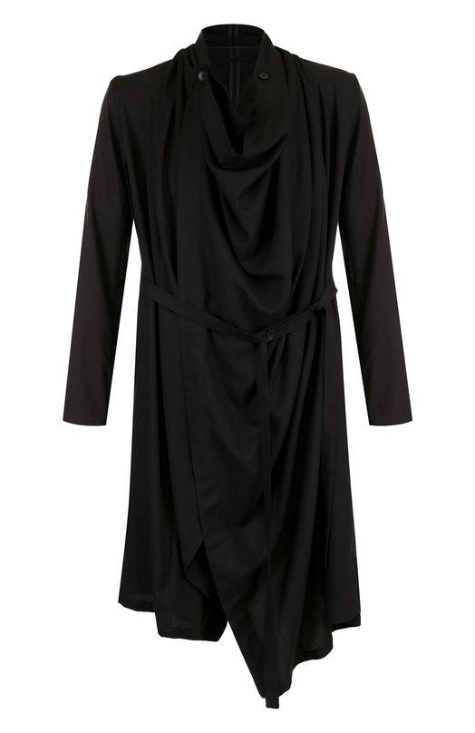 Купить Удлиненная рубашка свободного кроя из смеси вискозы и шелка Julius, 627C0M2, Япония, Черный, Вискоза: 90%; Шелк: 10%;