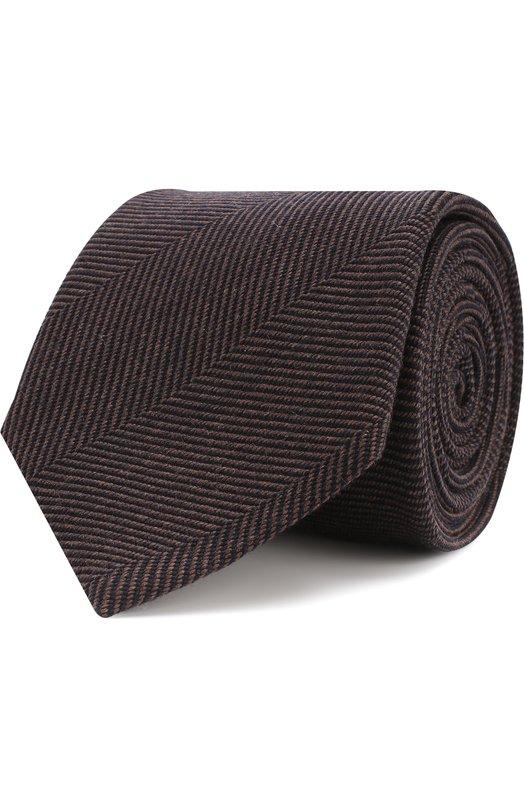 Купить Галстук с узором из смеси шерсти и шелка Brioni, 062I00/07AC9, Италия, Темно-коричневый, Шерсть: 89%; Шелк: 11%;