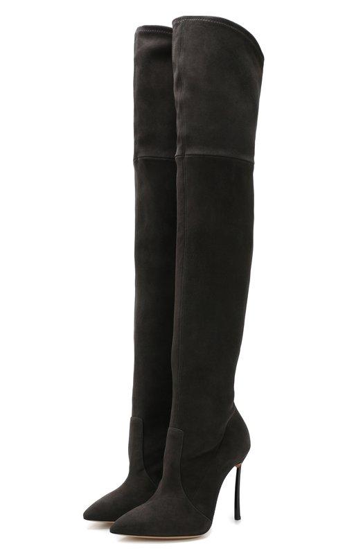 Купить Замшевые ботфорты на шпильке Casadei, 1T908L100HHCAM043, Италия, Темно-серый, Подошва-кожа: 100%; Подкладка-кожа: 100%; Кожа: 100%;