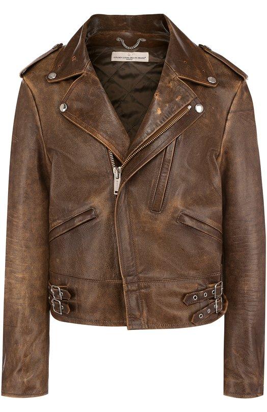 Купить Кожаная куртка с косой молнией Golden Goose Deluxe Brand, G32WP037.A1, Италия, Коричневый, Подкладка-вискоза: 64%; Подкладка-купра: 36%; Кожа натуральная: 100%;