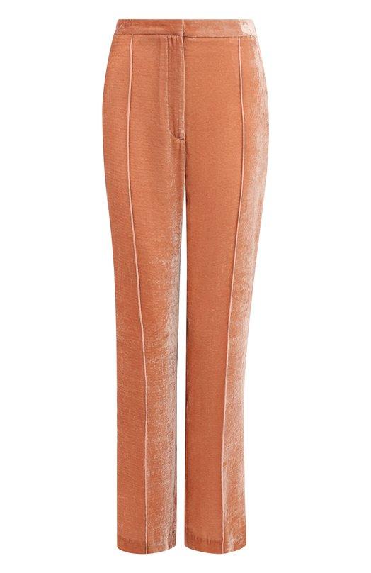 Купить Однотонные бархатные брюки прямого кроя Golden Goose Deluxe Brand, G32WP015.A2, Италия, Розовый, Вискоза: 82%; Шелк: 18%;