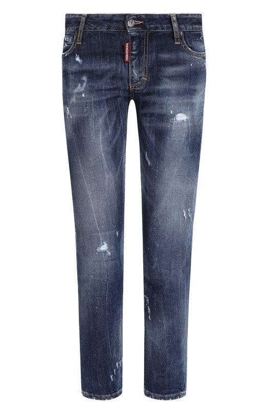 Купить Укороченные джинсы с потертостями Dsquared2, S72LB0160/S30595, Италия, Голубой, Хлопок: 98%; Эластан: 2%;