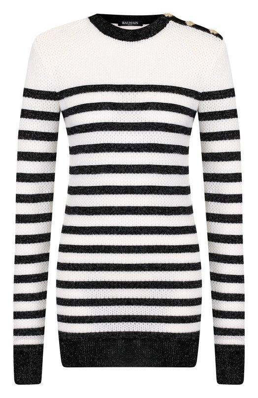 Купить Удлиненный пуловер с металлизированной нитью и декоративными пуговицами Balmain, 146676/K045, Франция, Черно-белый, Вискоза: 89%; Полиамид: 10%; Металлизированное волокно: 1%;