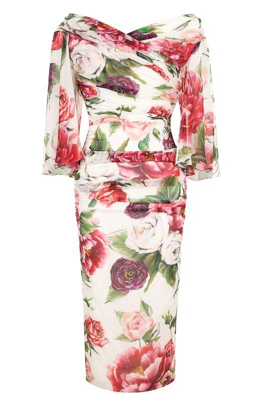 Купить Шелковое платье-миди с драпировкой и принтом Dolce & Gabbana, F69X8T/FSAWA, Италия, Разноцветный, Шелк: 93%; Эластан: 7%;