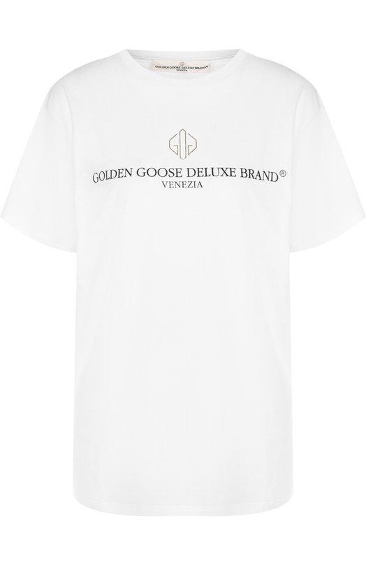 Купить Хлопковая футболка с круглым вырезом и логотипом бренда Golden Goose Deluxe Brand, G33WP023.A1, Италия, Белый, Хлопок: 100%;