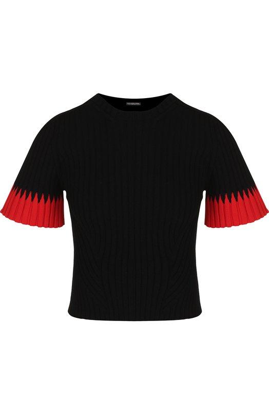 Купить Вязаный пуловер с круглым вырезом и укороченным рукавом Alexander McQueen, 532103/Q1RQL, Италия, Черный, Вискоза: 83%; Полиэстер: 17%;