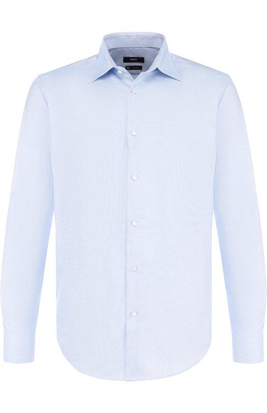 Купить Хлопковая сорочка с воротником кент BOSS, 50393152, Турция, Голубой, Хлопок: 100%;