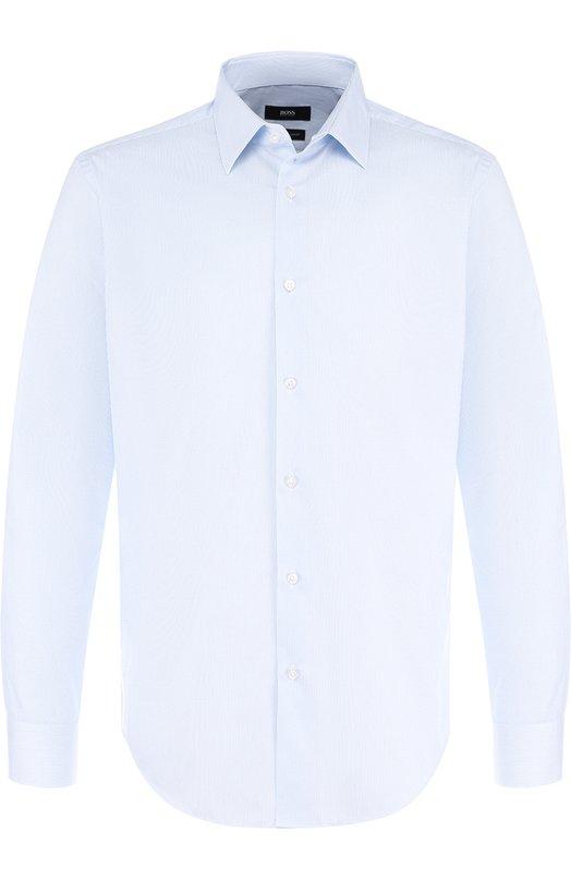 Купить Хлопковая сорочка с воротником кент BOSS, 50393150, Турция, Голубой, Хлопок: 100%;
