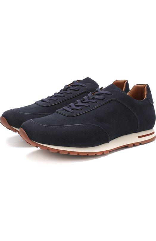 Купить Замшевые кроссовки Week End Walk на шнуровке Loro Piana, FAG4290, Италия, Темно-синий, Стелька-Кожа: 100%; Подошва-Резина: 100%; Замша натуральная: 100%; Подкладка-Кожа: 100%; Кожа: 100%; Низ-Кожа: 100%;