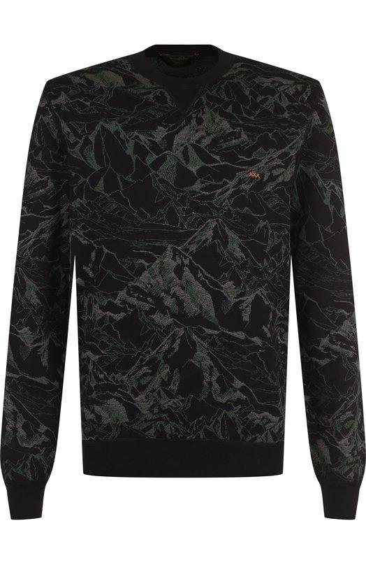 Купить Свитшот с принтом из смеси хлопка и шелка Zegna Couture, CRF92/110, Италия, Черный, Хлопок: 75%; Шелк: 25%;