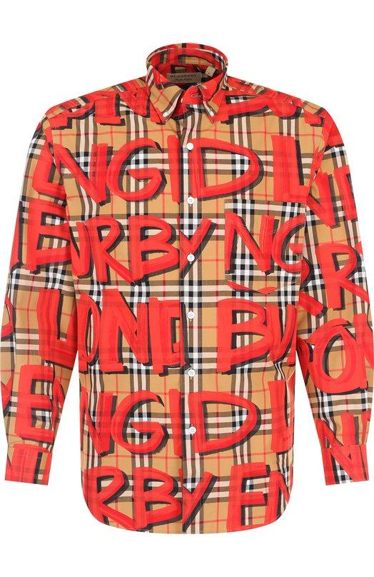 Купить Хлопковая рубашка с принтом Burberry, 8002928, Тунис, Красный, Хлопок: 100%;