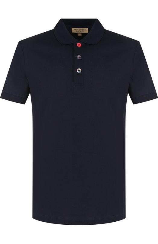 Купить Хлопковое поло с короткими рукавами Burberry, 8003025, Таиланд, Темно-синий, Хлопок: 100%;