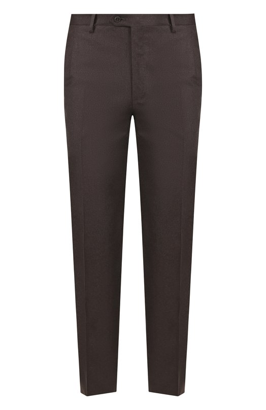 Купить Шерстяные брюки прямого кроя Brioni, RPL21H/0ZA0K/M0ENA, Италия, Темно-коричневый, Шерсть: 100%;