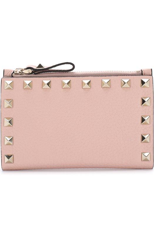 Купить Кожаный футляр для кредитных карт Valentino Garavani Rockstud Valentino, QW1P0605/VSH, Италия, Светло-розовый, Кожа натуральная: 100%;