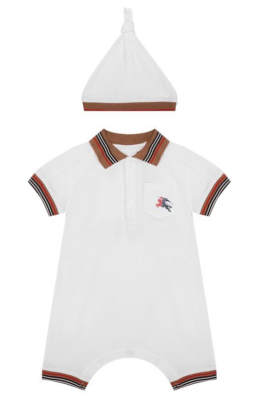 Купить Хлопковый комплект из комбинезона и шапки Burberry, 8002666, Таиланд, Белый, Хлопок: 98%; Эластан: 2%;