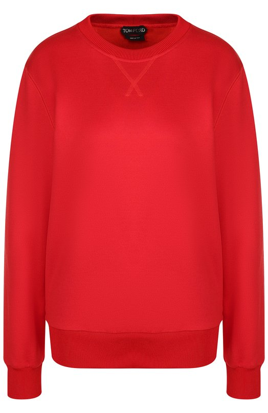 Купить Однотонный пуловер из смеси хлопка и шелка Tom Ford, TSJ304-FAX351, Италия, Красный, Хлопок: 69%; Шелк: 31%;