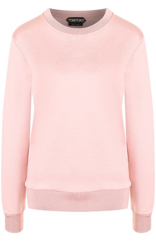 Купить Однотонный пуловер из смеси хлопка и шелка Tom Ford, TSJ304-FAX351, Италия, Розовый, Хлопок: 69%; Шелк: 31%;