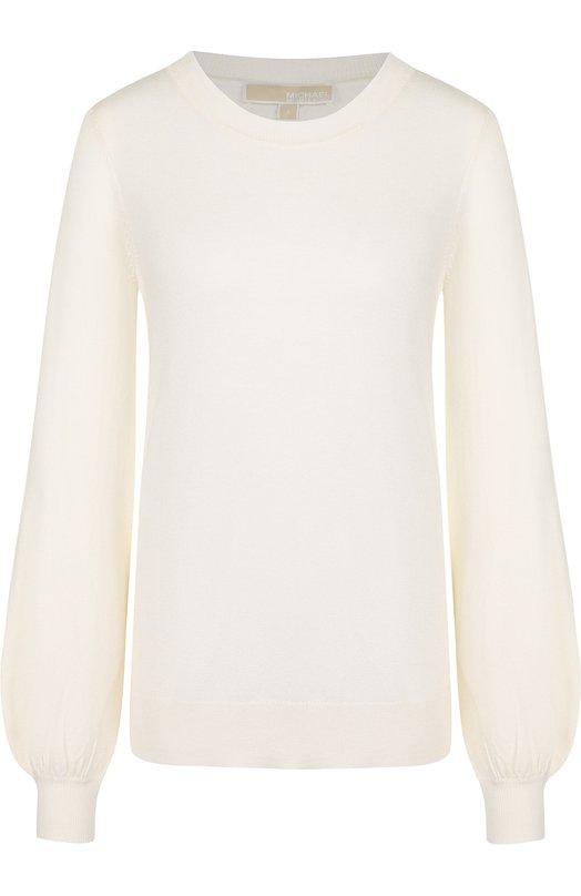 Купить Однотонный пуловер с круглым вырезом MICHAEL Michael Kors, MU86NP60WP, Китай, Белый, Кашемир: 5%; Вискоза: 40%; Полиамид: 30%; Полиэстер: 25%;