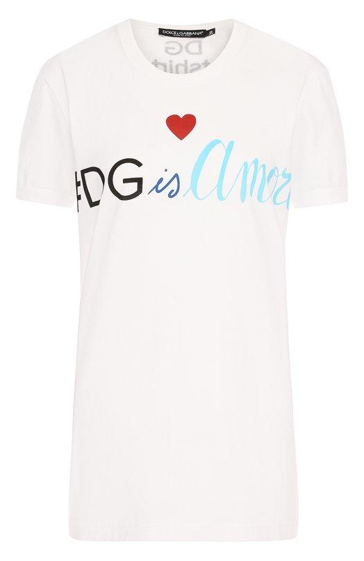 Купить Хлопковая футболка с круглым вырезом и логотипом бренда Dolce & Gabbana, F8H50T/FH7V4, Италия, Белый, Хлопок: 100%;