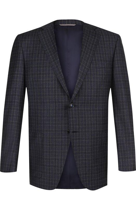 Купить Однобортный шерстяной пиджак в клетку Canali, 13291/BF01782/112, Италия, Темно-серый, Шерсть: 100%;