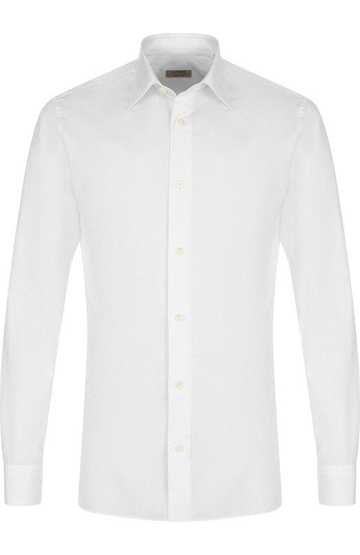Купить Хлопковая сорочка с воротником кент Z Zegna, 405001/9DFLER, Египет, Белый, Хлопок: 100%;